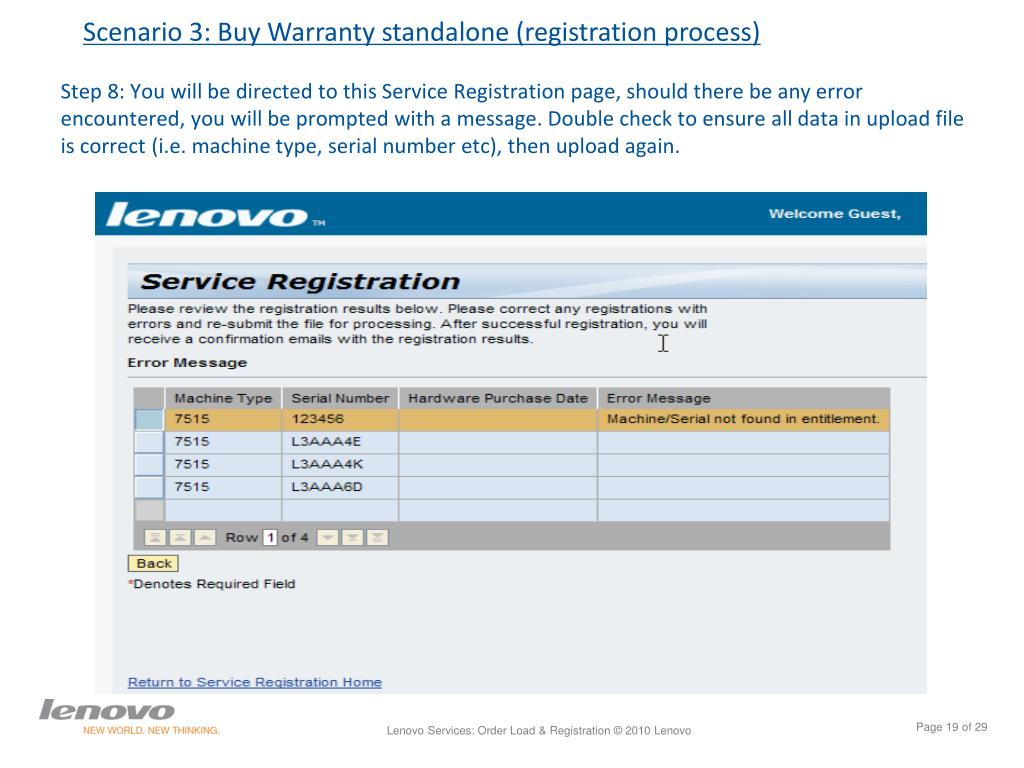 PPT - LENOVO SERVICES Ordering & registering services warranty May