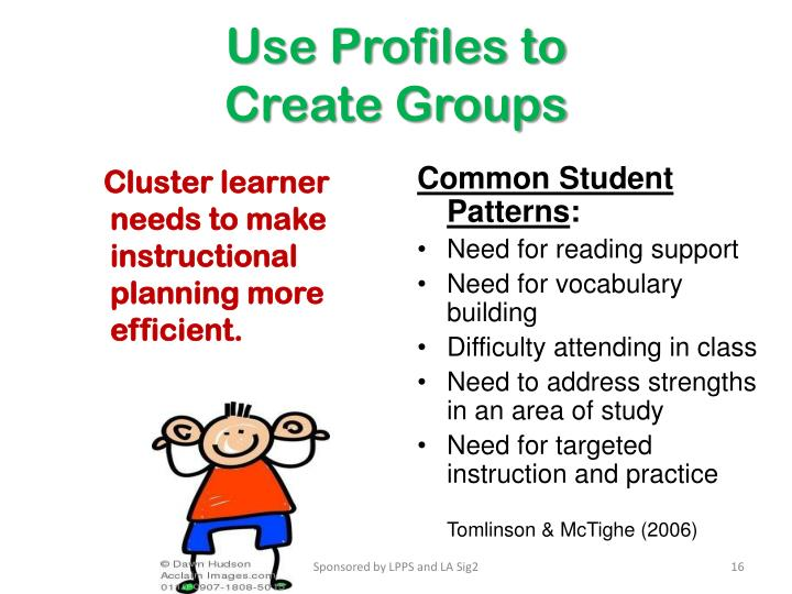 Cluster learner needs to make instructional planning more efficient.