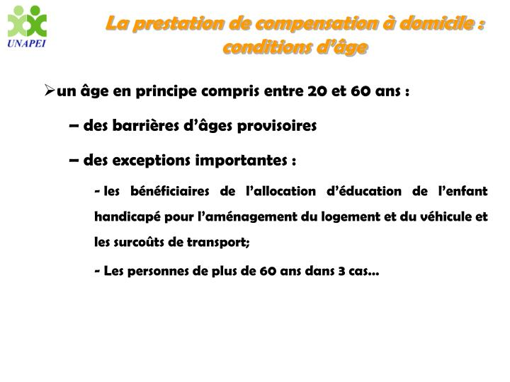 La prestation de compensation à domicile : conditions d'âge