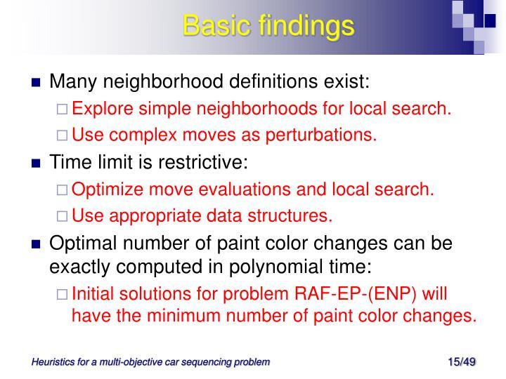 Basic findings