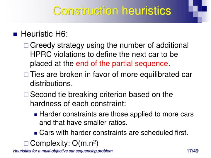 Construction heuristics