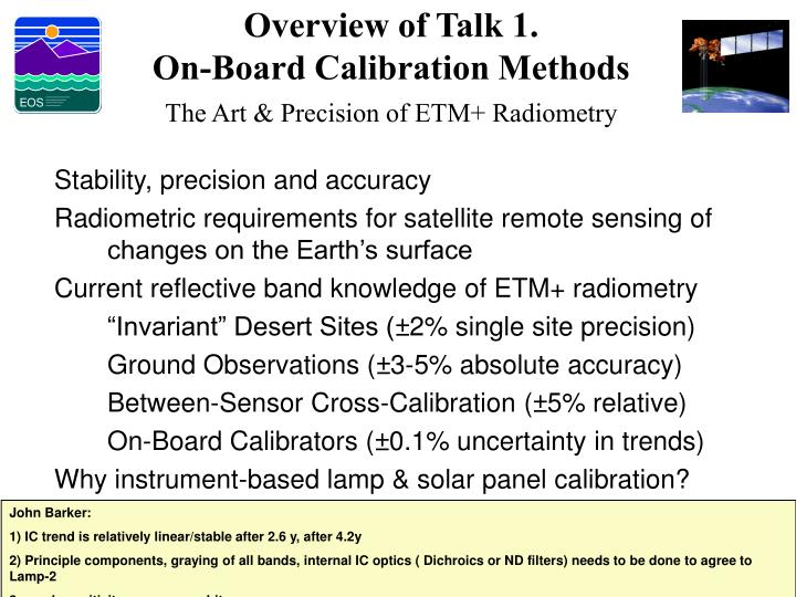 Overview of Talk 1.