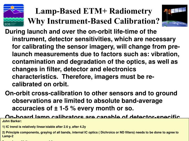 Lamp-Based ETM+ Radiometry