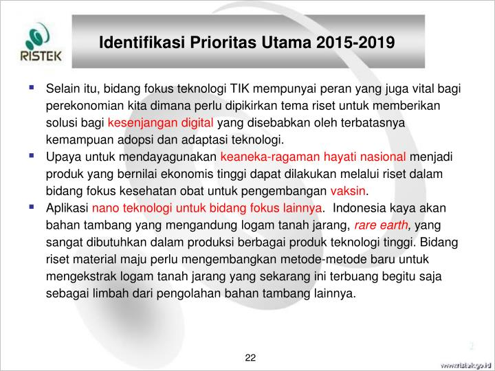 Identifikasi Prioritas Utama 2015-2019