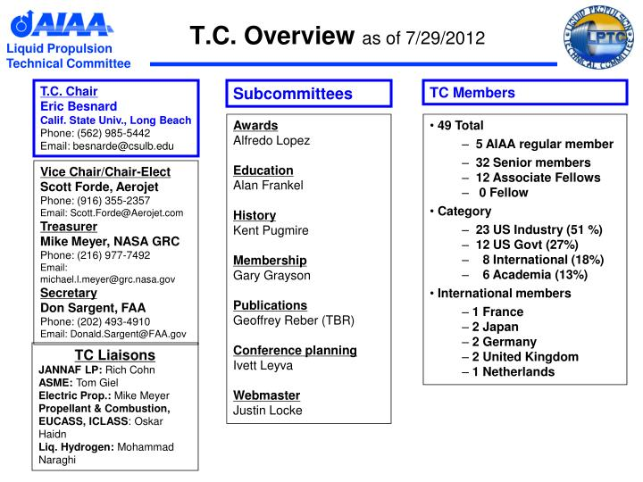 T c overview as of 7 29 2012
