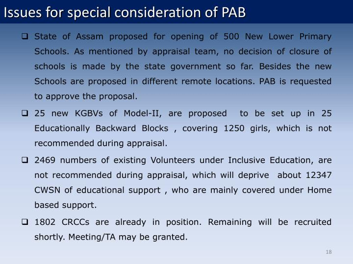 Issues for special consideration of PAB
