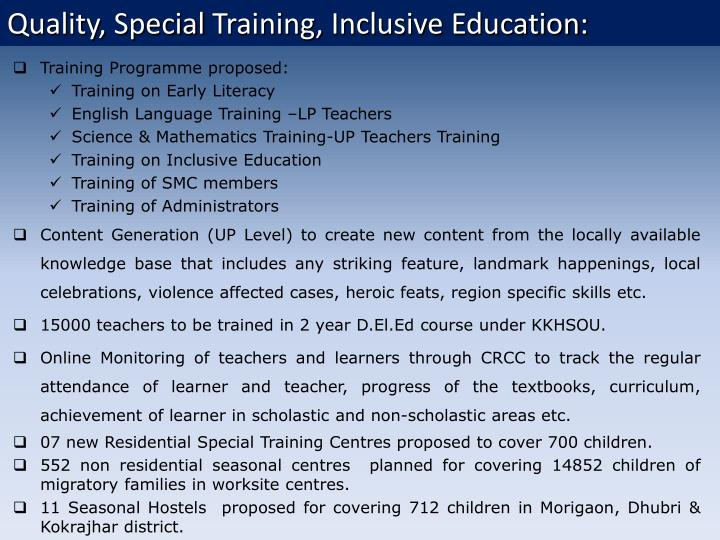 The following training programme are proposed:
