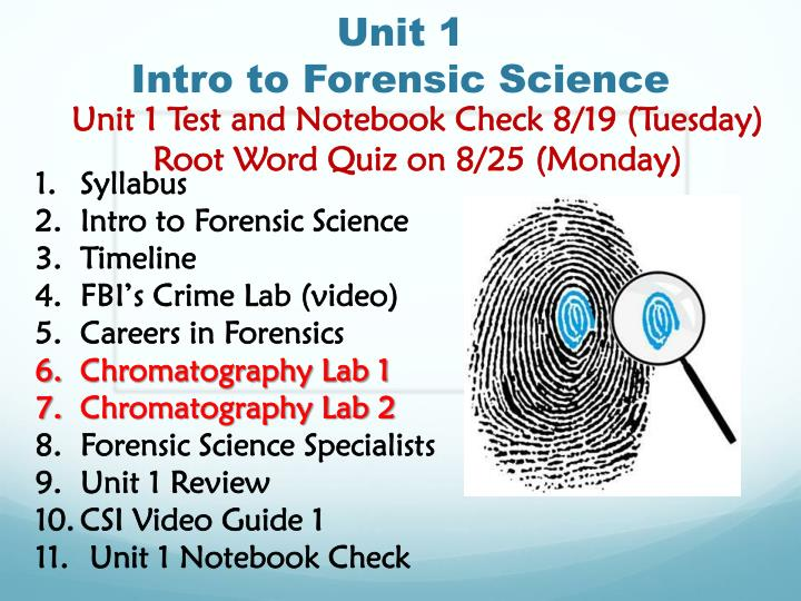 unit 1 intro to forensic science n.