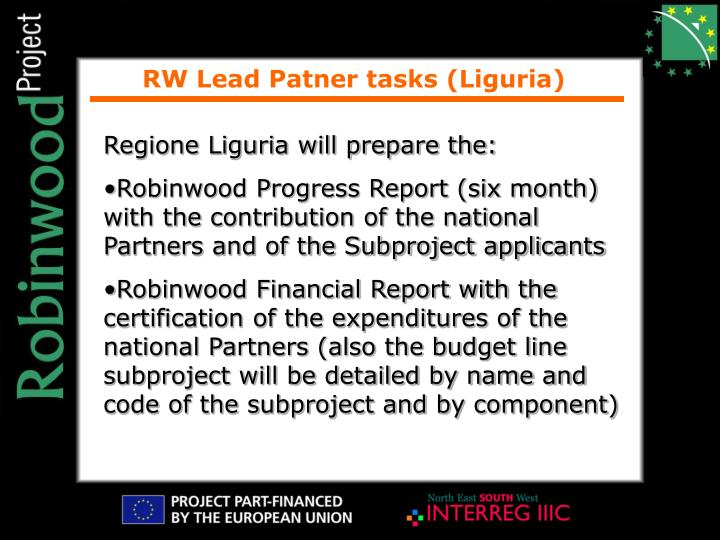 RW Lead Patner tasks (Liguria)