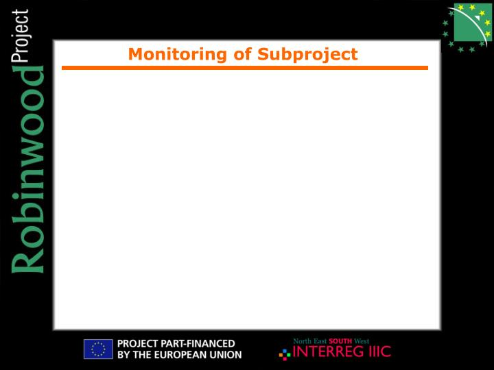 Monitoring of Subproject