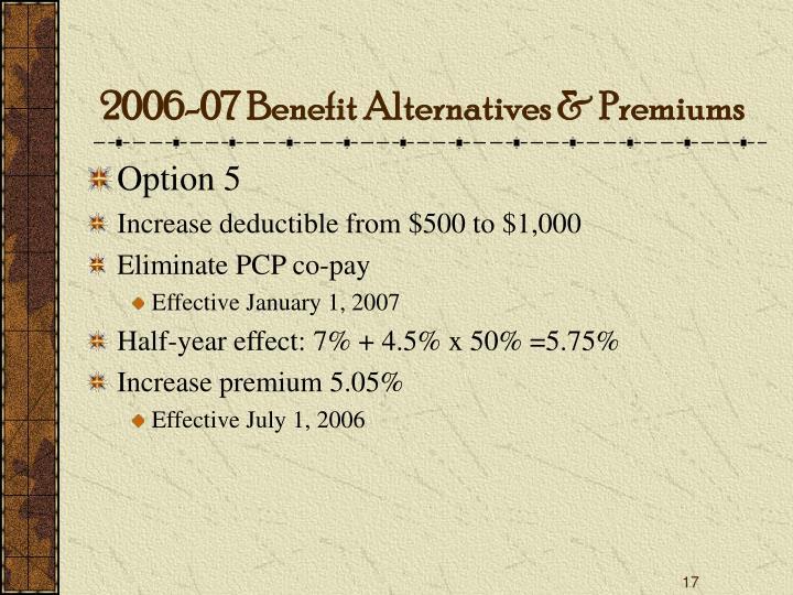 2006-07 Benefit Alternatives & Premiums
