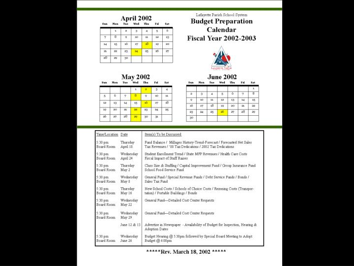 Budget preparation calendar for fiscal year 2002 2003