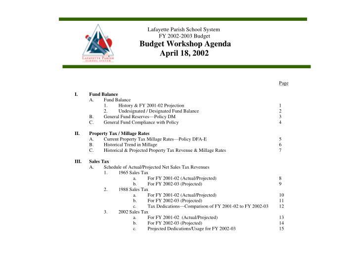 Budget workshop agenda