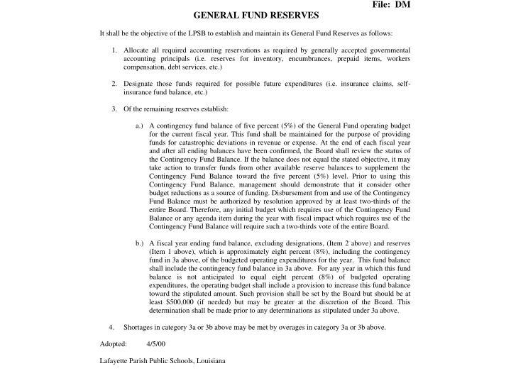 General Fund Reserves