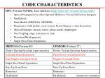 code characteristics