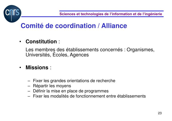 Comité de coordination / Alliance