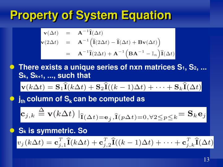 Property of System Equation