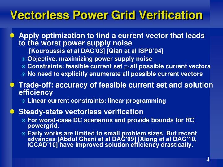 Vectorless Power Grid Verification