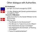 other dialogue with authorities