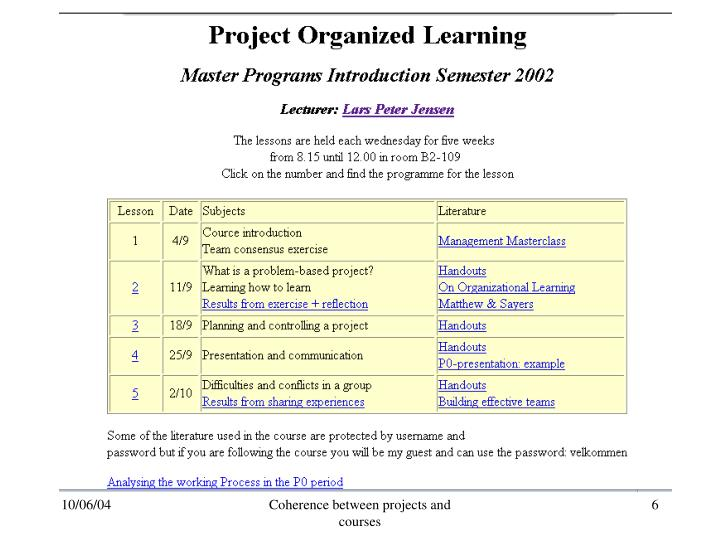 Coherence between projects and courses