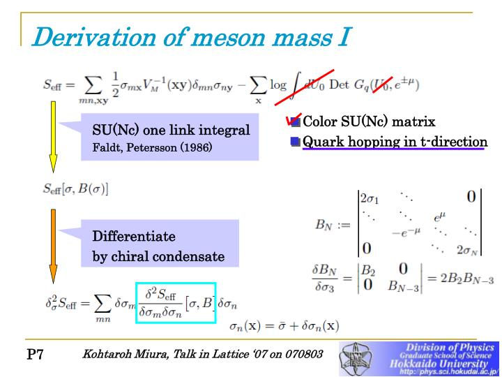 Derivation of meson mass I