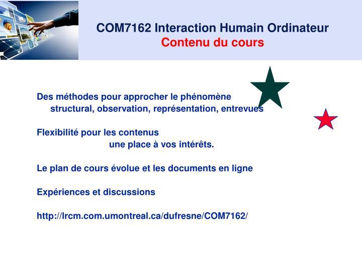 COM7162 Interaction Humain Ordinateur
