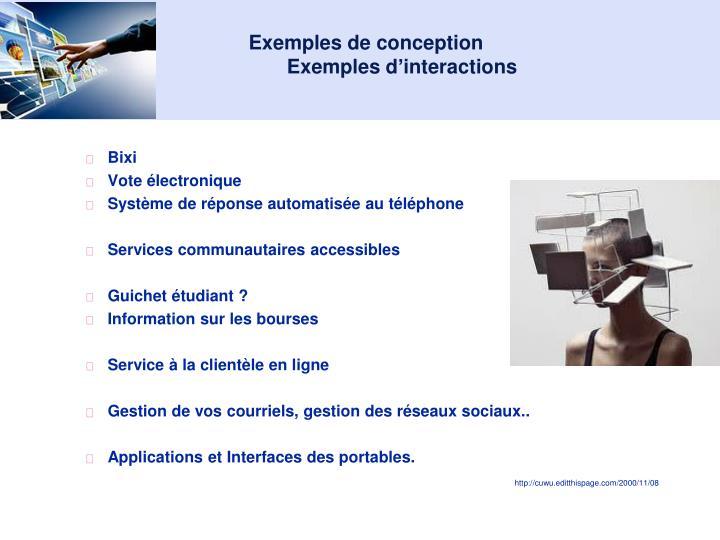 Exemples de conception