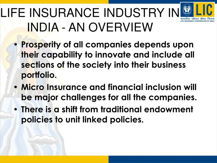 Ppt Life Insurance Industry In India An Overview Powerpoint