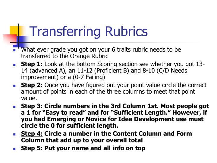 Transferring Rubrics