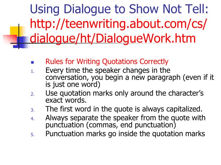 Using Dialogue to Show Not Tell: