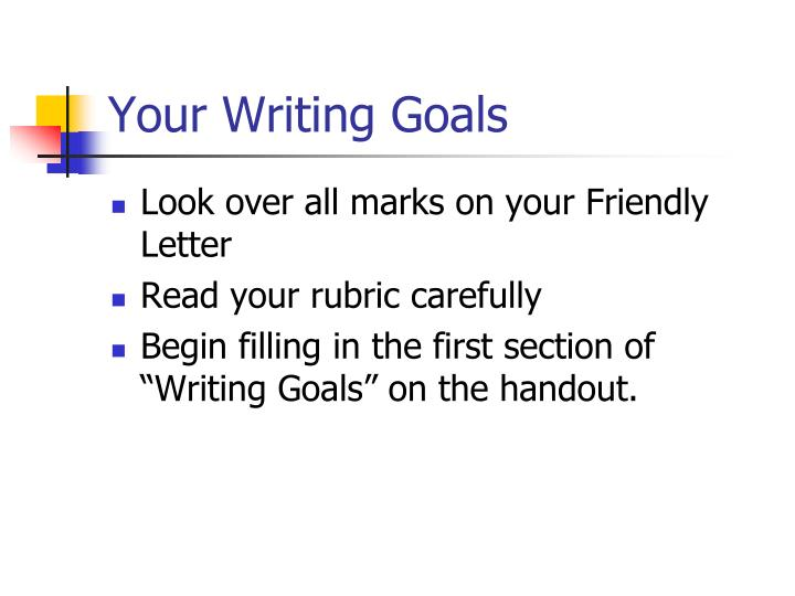 Your Writing Goals