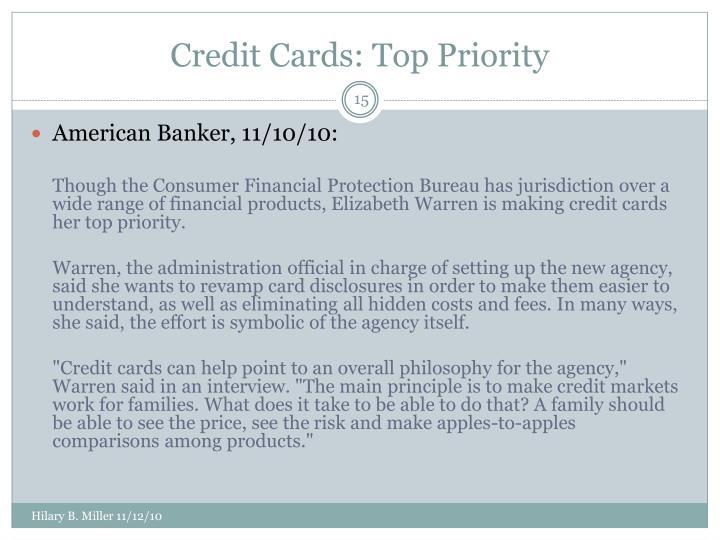Credit Cards: Top Priority