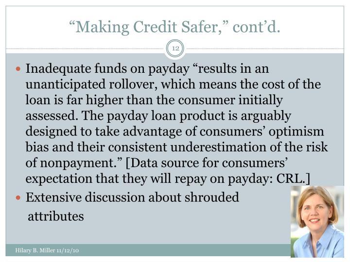 """""""Making Credit Safer,"""" cont'd."""