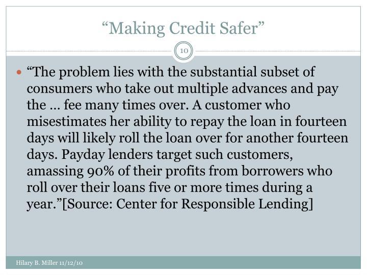 """""""Making Credit Safer"""""""