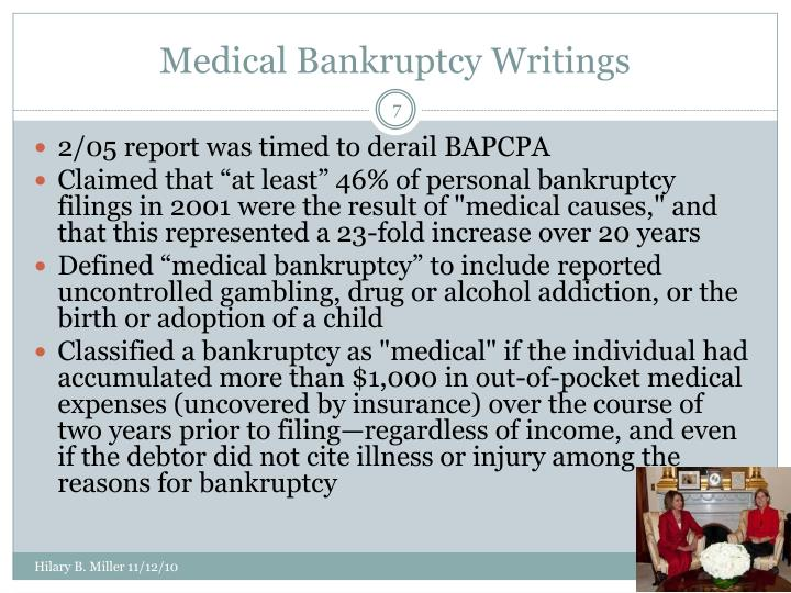 Medical Bankruptcy Writings