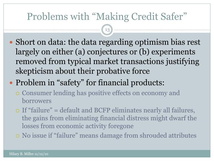 """Problems with """"Making Credit Safer"""""""