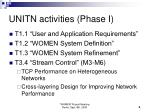 unitn activities phase i