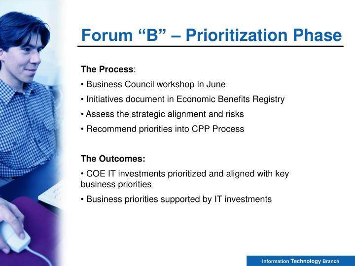 "Forum ""B"" – Prioritization Phase"