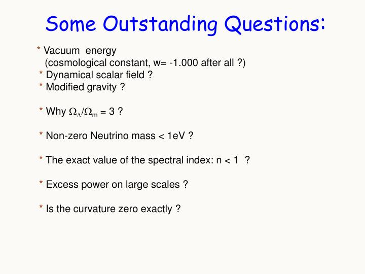Some Outstanding Questions