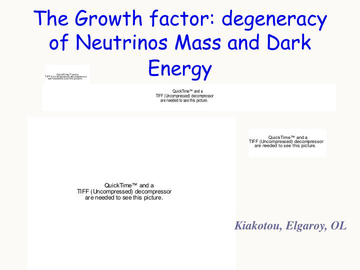 The Growth factor: degeneracy of Neutrinos Mass and Dark Energy