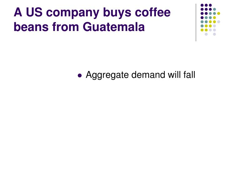 A US company buys coffee beans from Guatemala