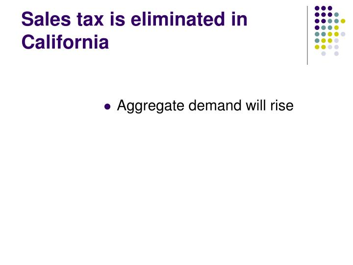 Sales tax is eliminated in California