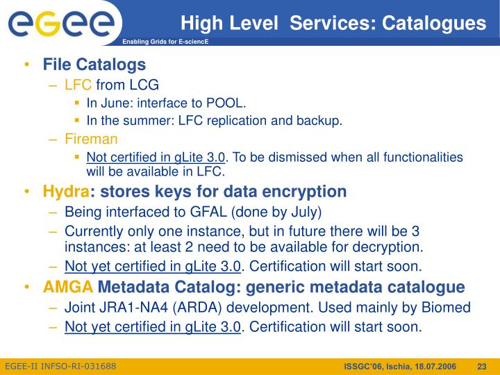 High Level  Services: Catalogues