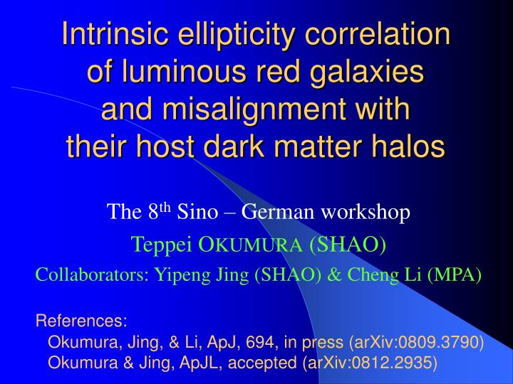 Intrinsic ellipticity correlation     of luminous red galaxies       and misalignment with          ...