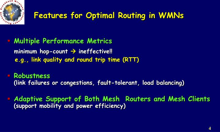 Features for Optimal Routing in WMNs