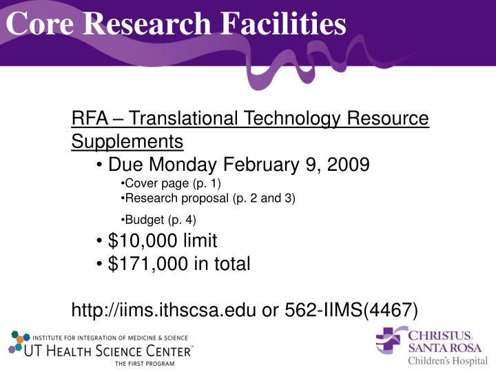 Core Research Facilities