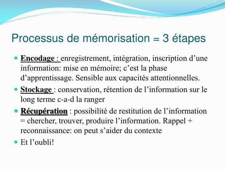 Processus de mémorisation = 3 étapes