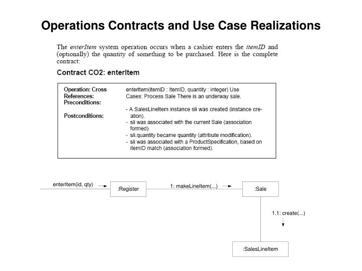 Operations Contracts and Use Case Realizations