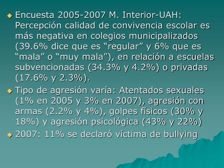 """Encuesta 2005-2007 M. Interior-UAH: Percepción calidad de convivencia escolar es más negativa en colegios municipalizados (39.6% dice que es """"regular"""" y 6% que es """"mala"""" o """"muy mala""""), en relación a escuelas subvencionadas (34.3% y 4.2%) o privadas (17.6% y 2.3%)."""