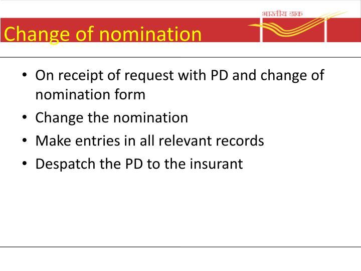 Change of nomination